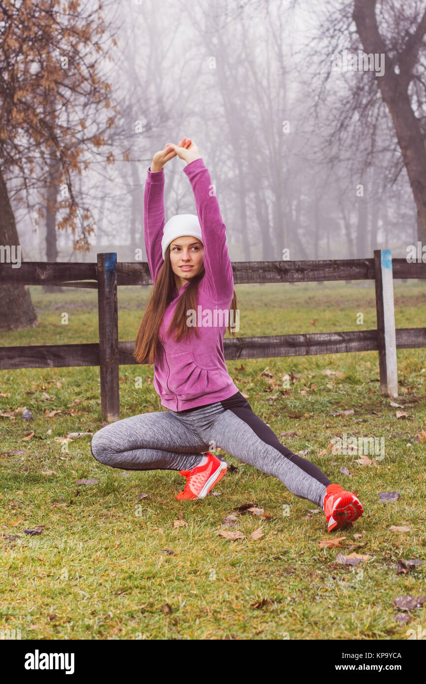 Fit Woman Outdoor Activity - Stock Image