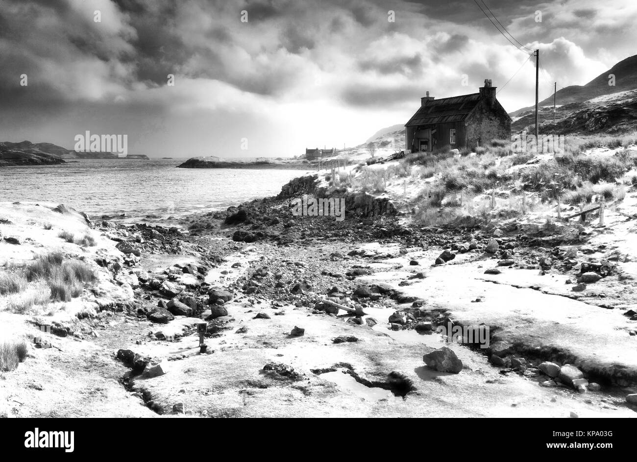 Abandoned croft at Orinsay, Isle of Lewis, Outer Hebrides. Converted to monochrome and given an infrared treatment. - Stock Image