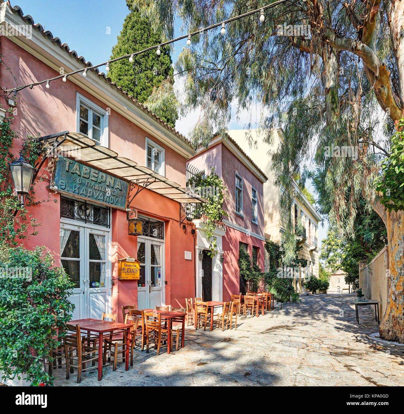 A picturesque restaurant of Plaka in Athens, Greece Stock Photo