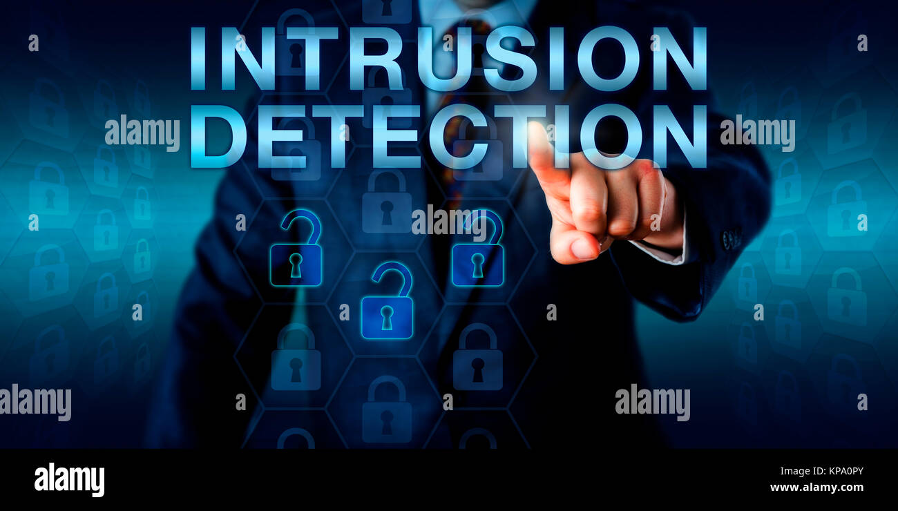 Security Expert Pushing INTRUSION DETECTION - Stock Image