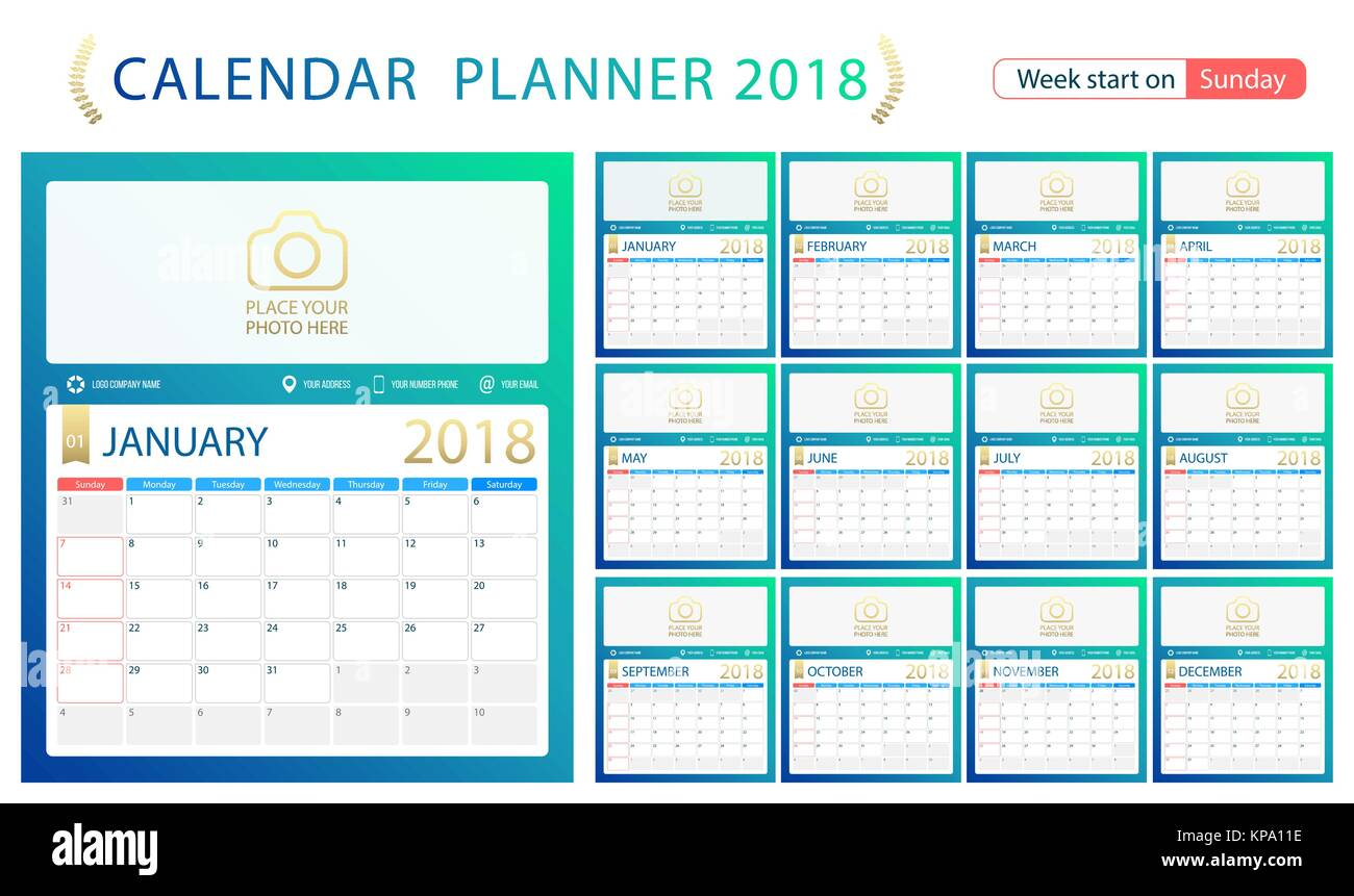 Corporate Calendar 2018 : Calender january stock photos