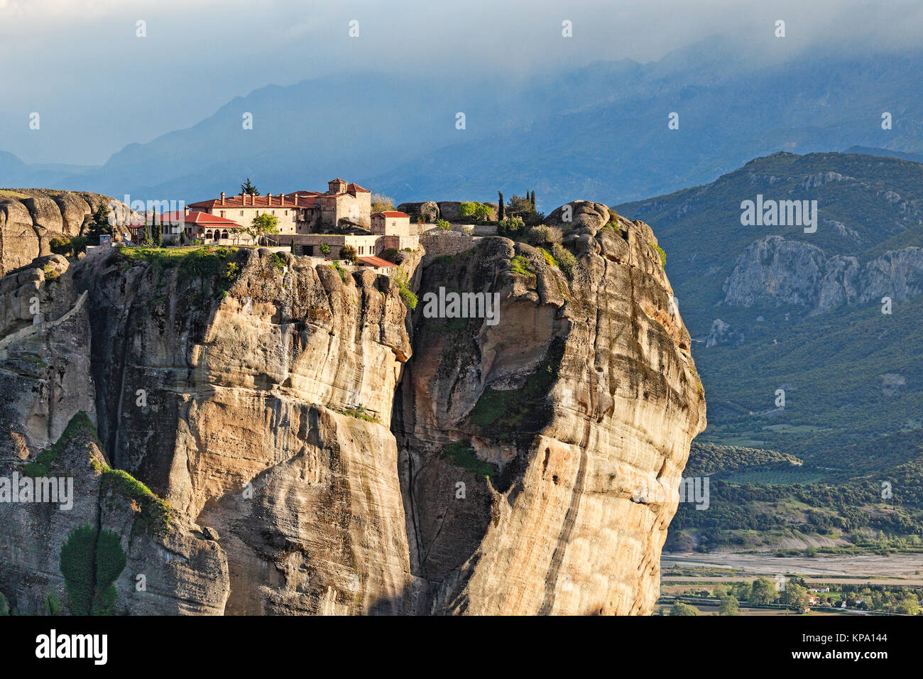 Holy Trinity Monastery or Agia Triada Monastery in the Meteora Monastery complex in Greece - Stock Image