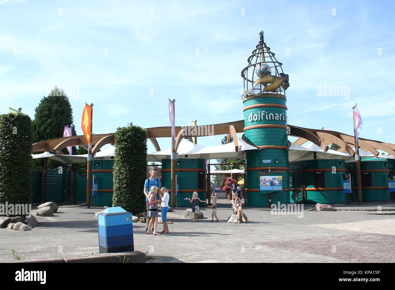 Entrance to Dolfinarium Harderwijk, a marine mammal park in Harderwijk, The Netherlands - largest park of its kind Stock Photo