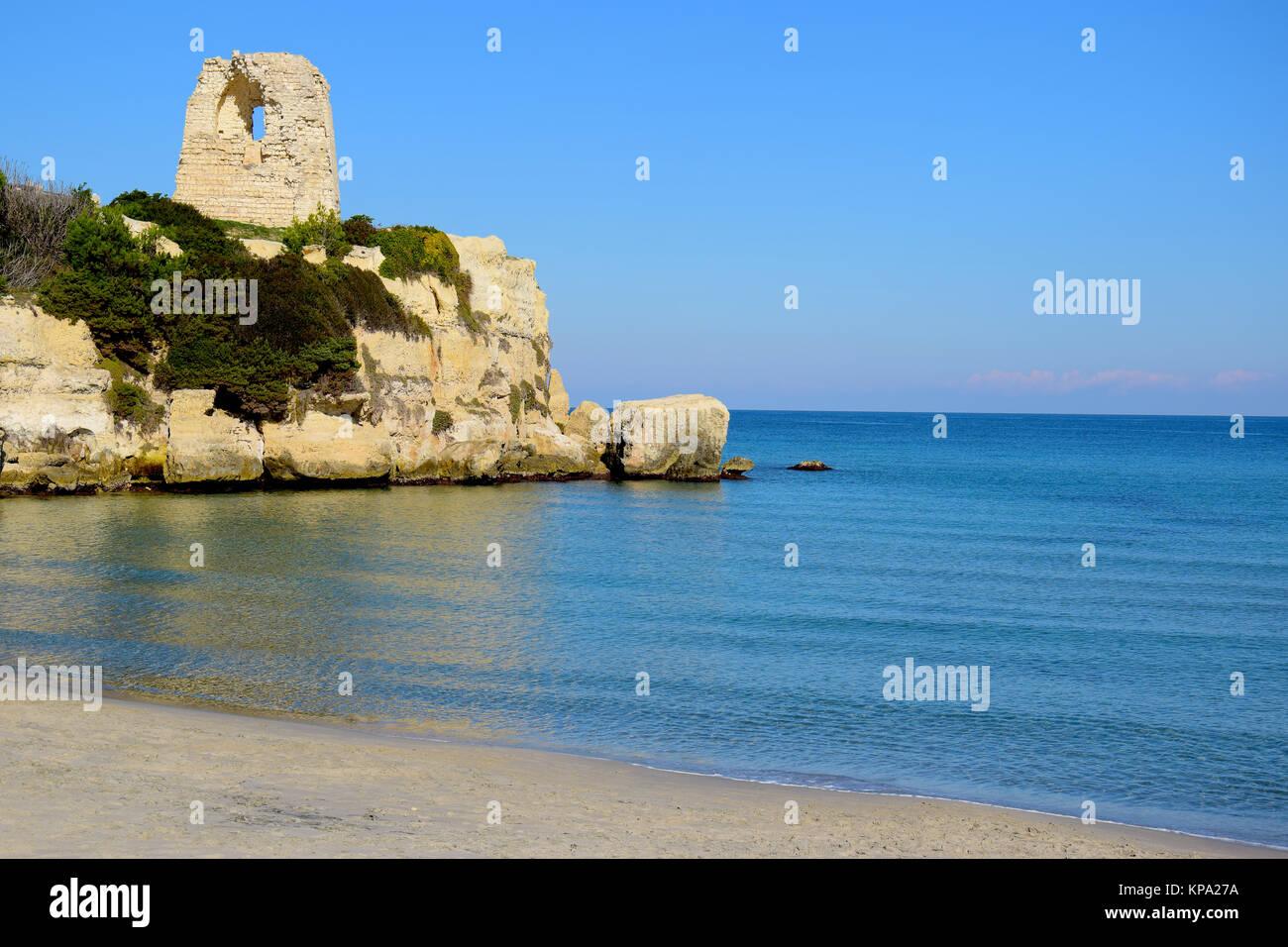 Beach in Torre dell'Orso near Otranto in Salento, Apulia region, Italy - Stock Image