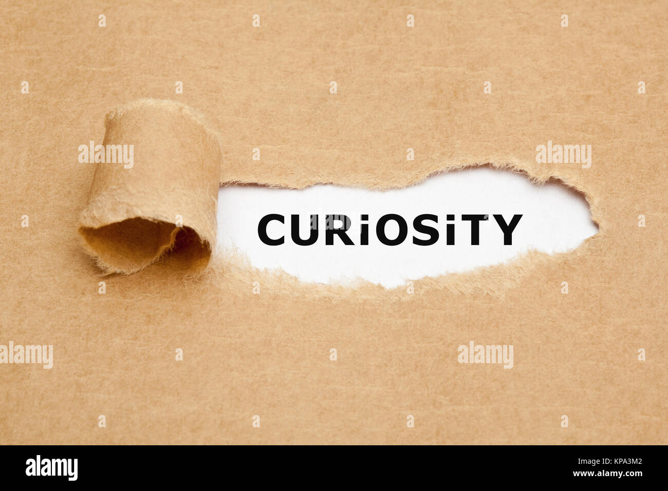 Curiosity Torn Paper Concept - Stock Image