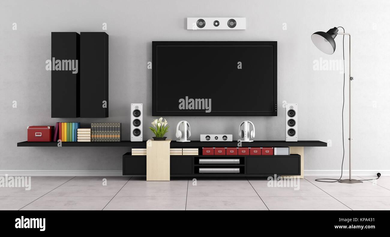 Minimalist Black White Living Room Sideboard Tv Cinema Stock ...