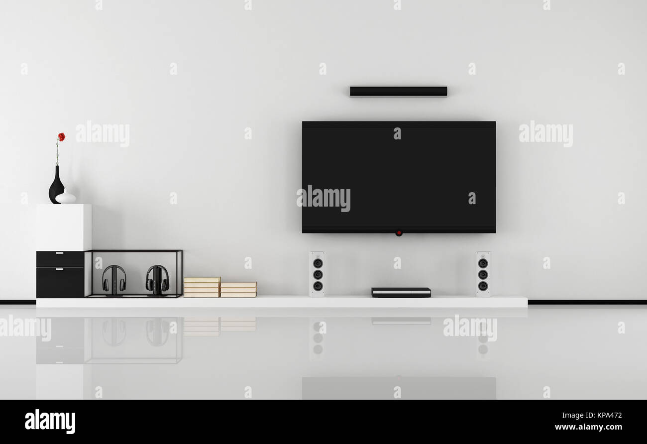 Black and white home cinema Stock Photo: 168638598 - Alamy