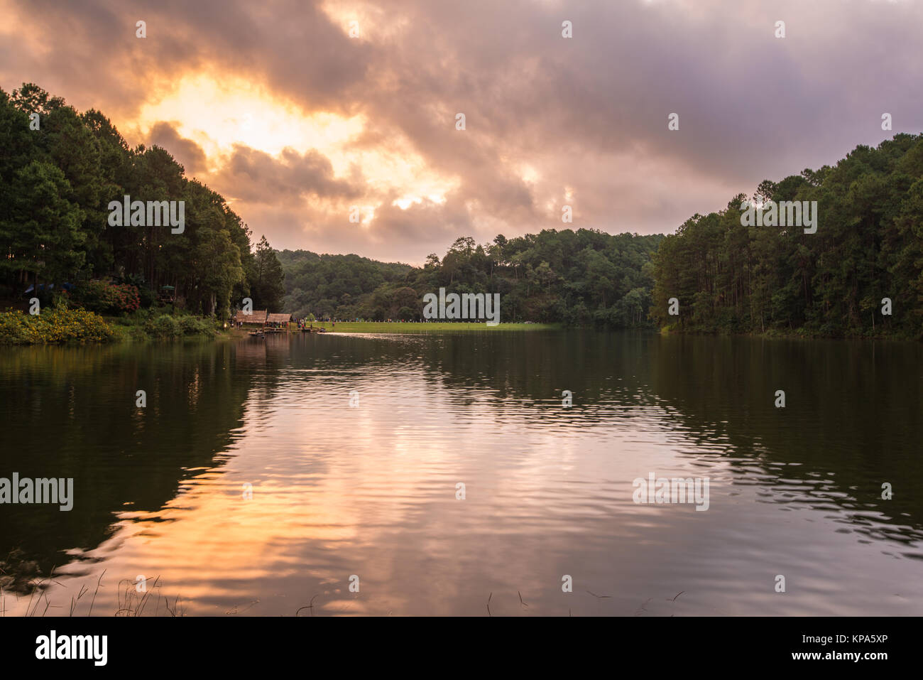 Swamp amd mountain view of Pang Ung, Mae Hong Son, most favorite travel destination of tourists for vacation, recreation, - Stock Image