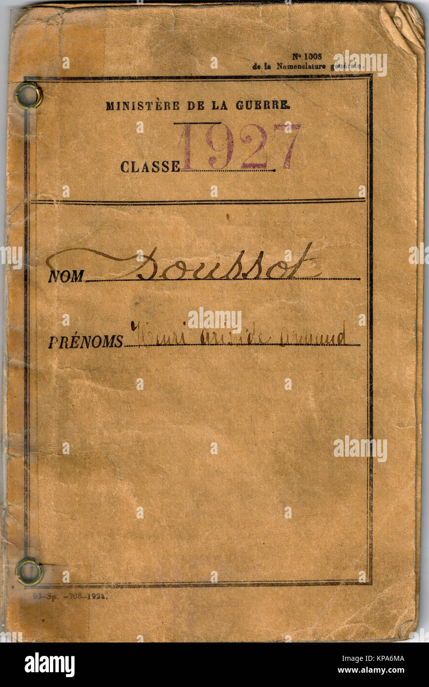 WWII French military booklet, Lyon, France - Stock Image