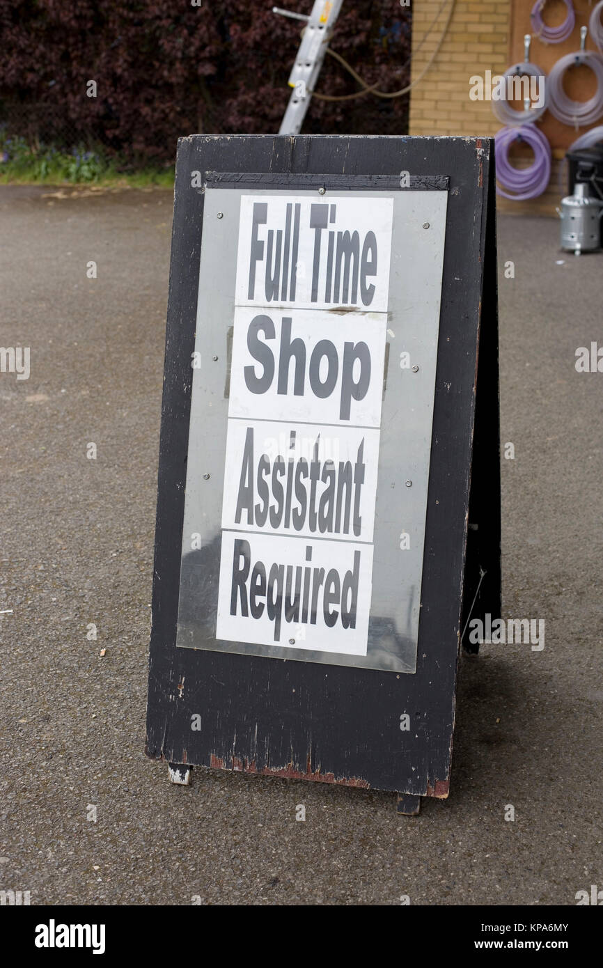 Sign advertising job vacancy in Dedworth Windsor Berks - Stock Image