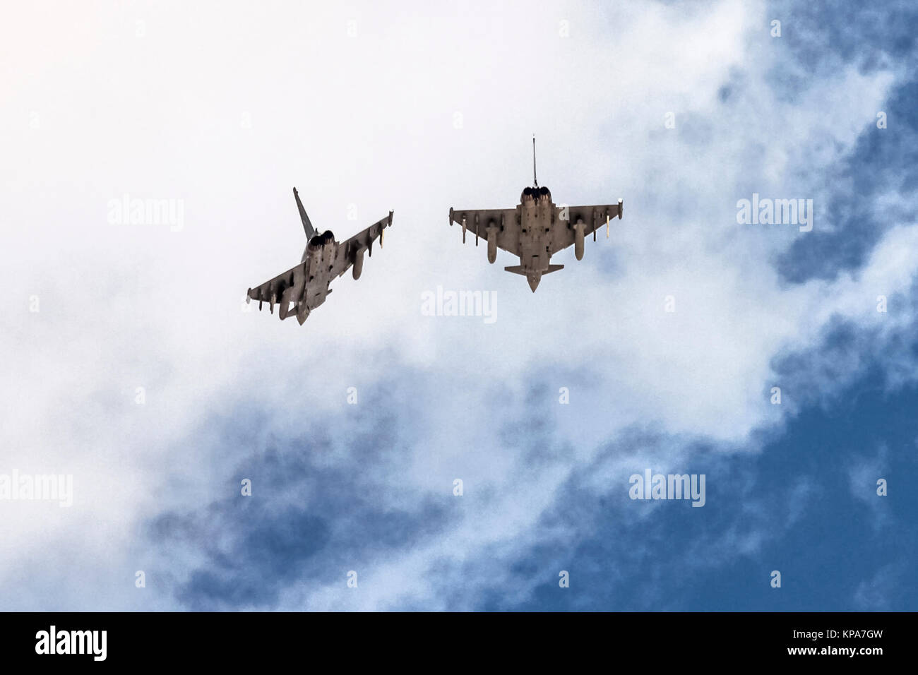 Two German Air Force, Eurofighter Typhoon EF2000 a twin-engine, canard-delta wing, multirole fighter. Photographed Stock Photo