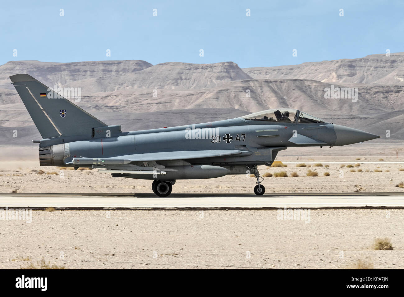 German Air Force, Eurofighter Typhoon EF2000 a twin-engine, canard-delta wing, multirole fighter. Photographed at - Stock Image