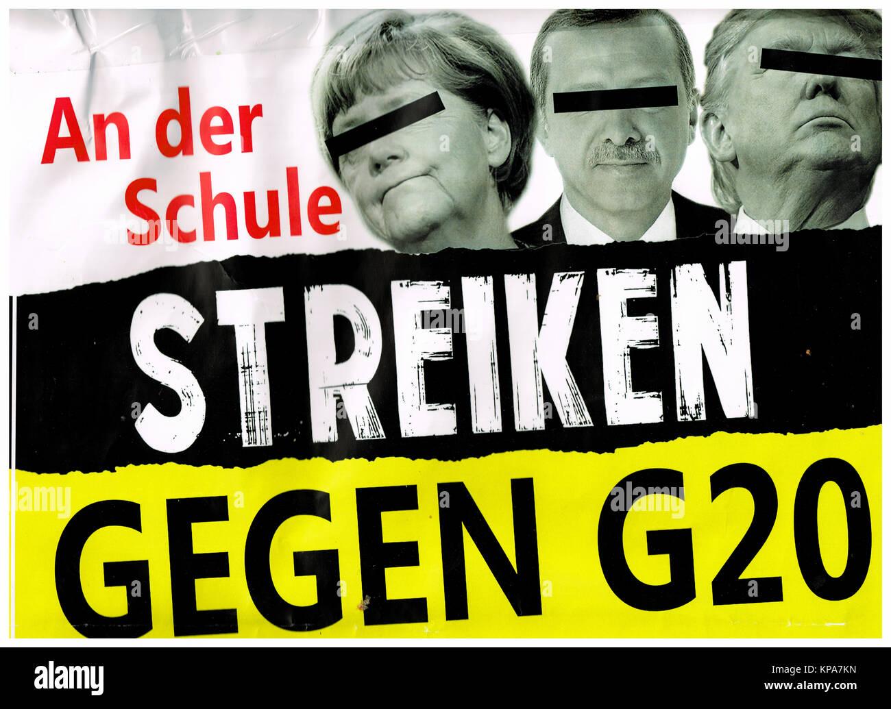 Anti-G20 poster, Hamburg, Germany - Stock Image