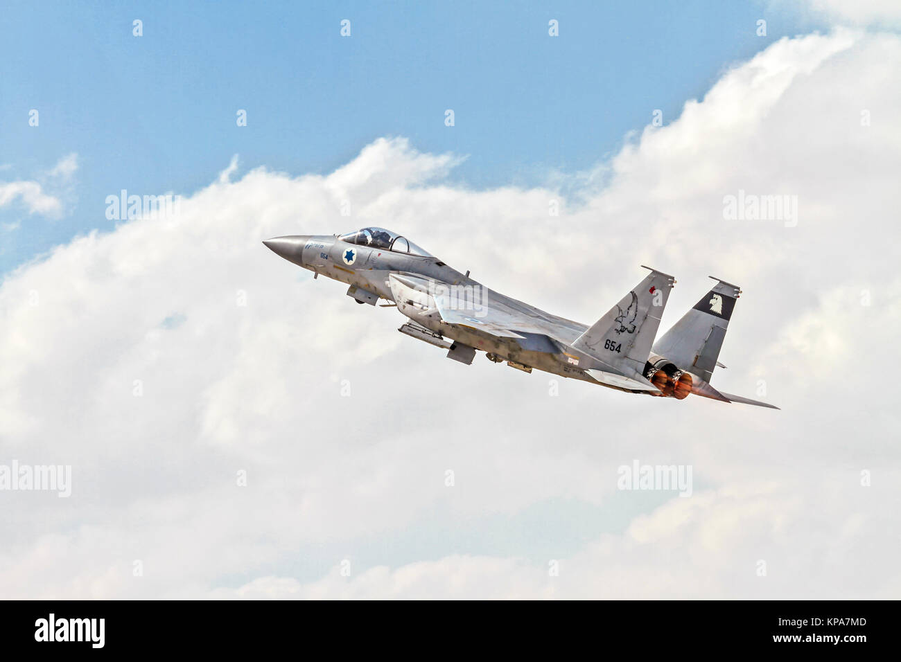 """Israeli Air Force (IAF) McDonnell Douglas F-15A in flight.  Photographed at the  """"Blue-Flag"""" 2017, an international Stock Photo"""