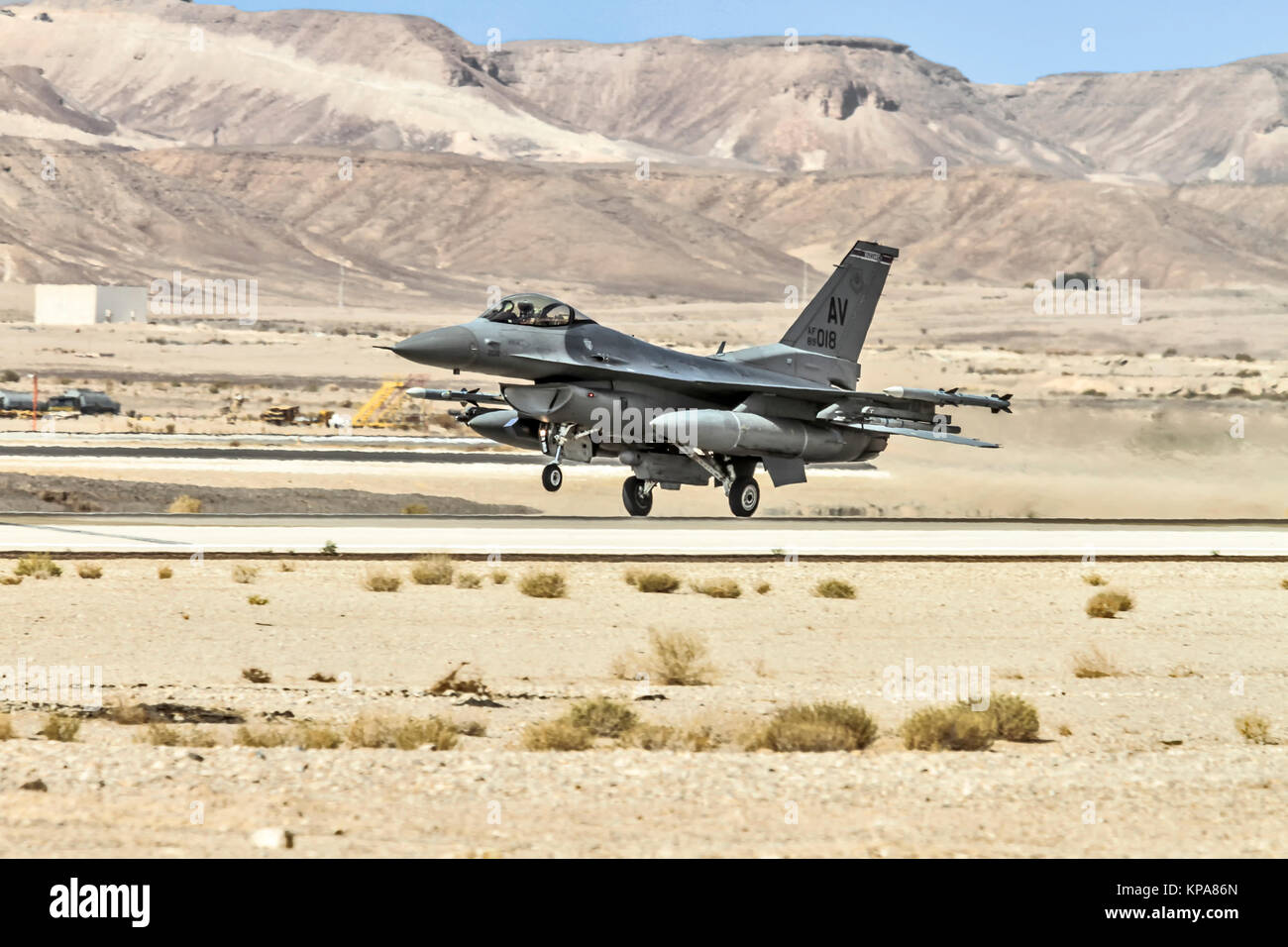 """United States Air Force (USAF) F-16C From Aviano AB. Photographed at the  """"Blue-Flag"""" 2017, an international aerial - Stock Image"""