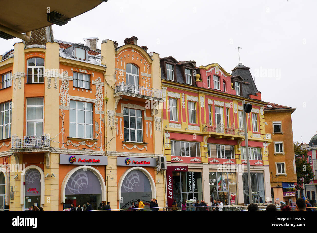 Facade of a building, Plovdiv, Bulgaria - Stock Image
