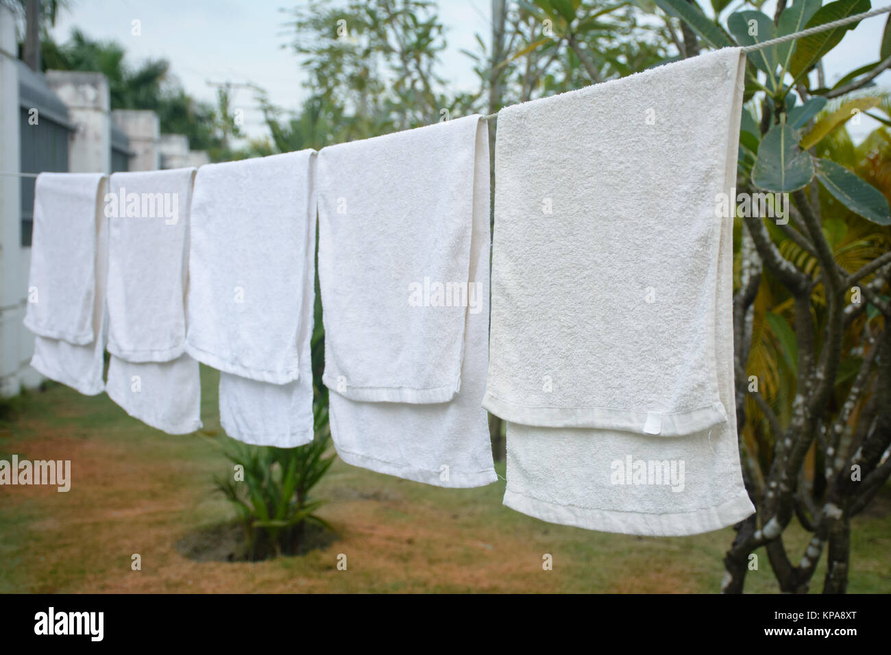 hanging white towel. White Towels Hanging On The Line Towel