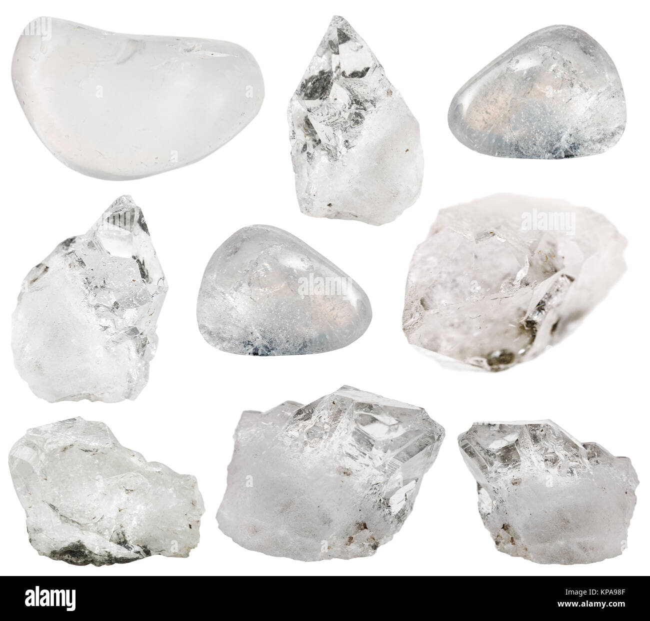 rock crystal (clear quartz) stone and tumbled gems Stock Photo
