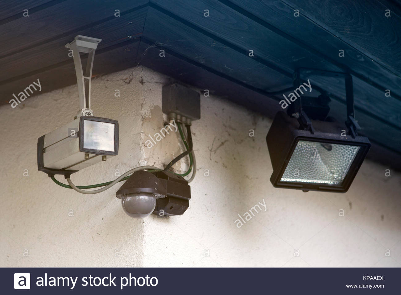 security system and camera outside at a house - Stock Image