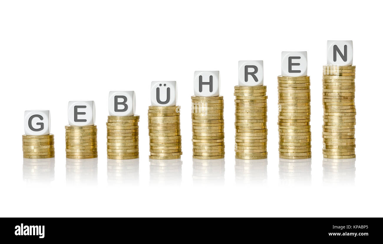 münzstapel lettered cubes - fees - Stock Image