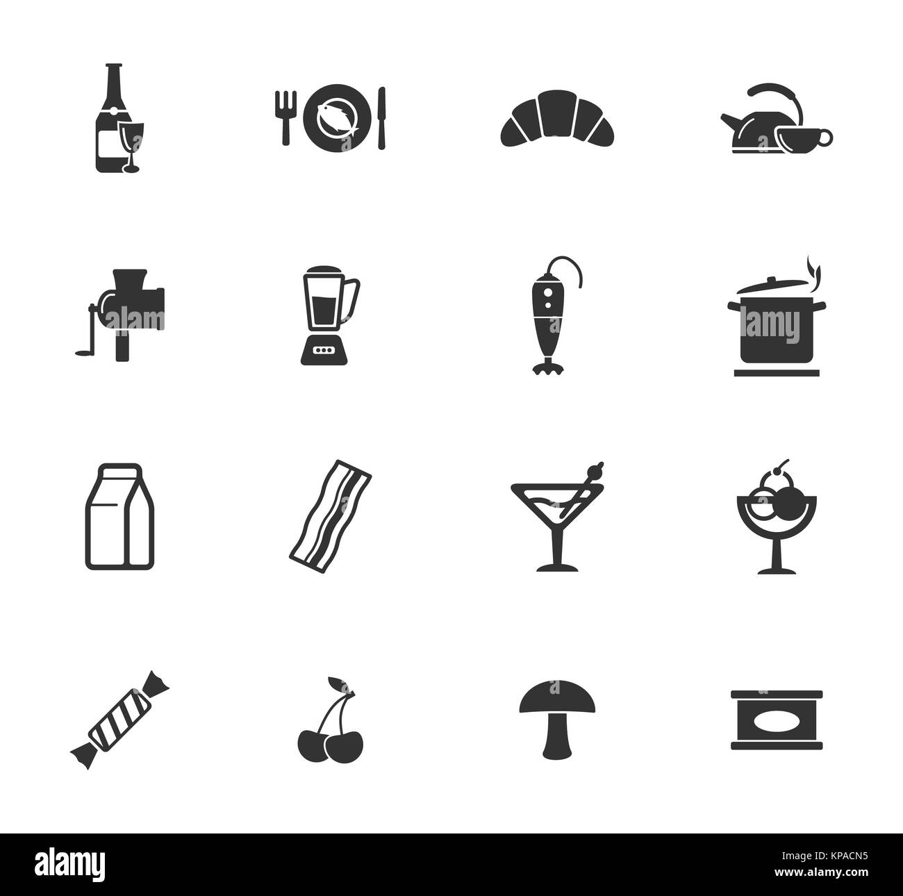 Food and kitchen simply icons - Stock Image