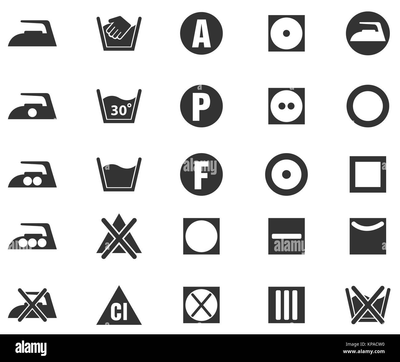 Washing Symbols On Clothing Label Black And White Stock Photos