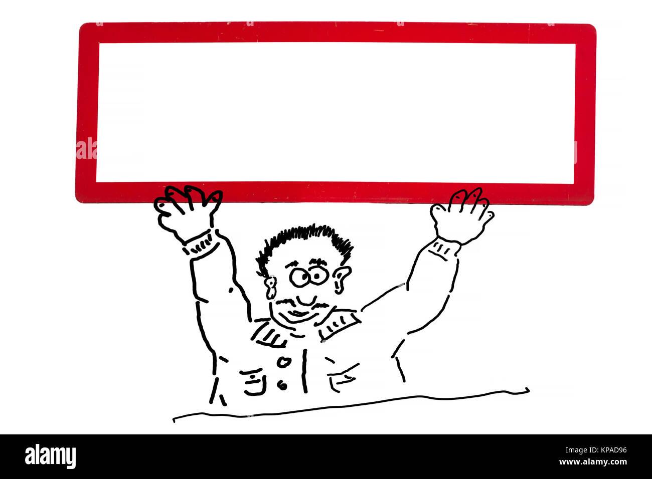 Handzeichnung von einer Werbefigur,  Comicfigur oder Strichzeichnung. Comicfigur hält ein weißes Schild mit roten Stock Photo