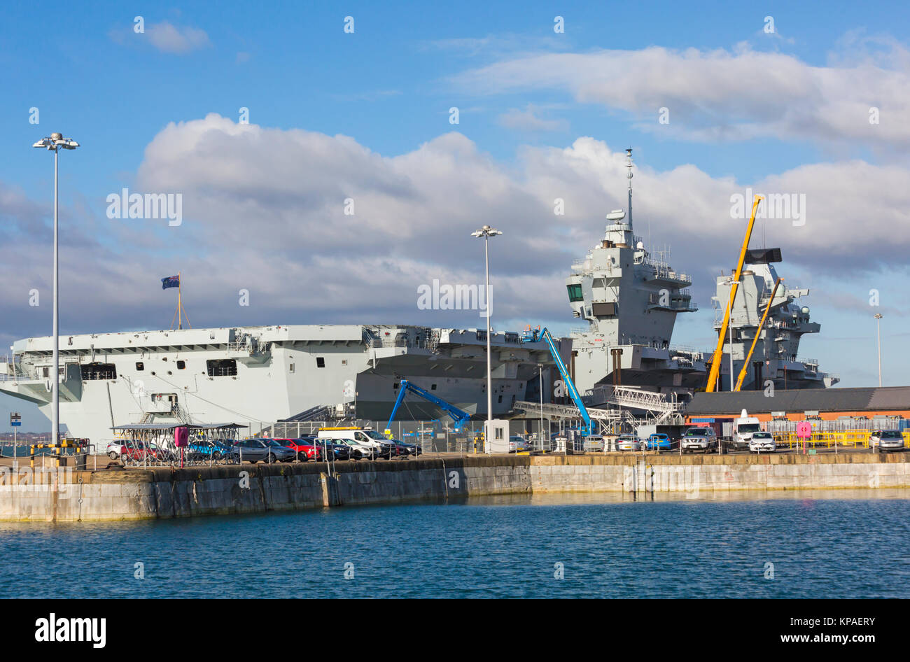HMS Queen Elizabeth aircraft carrier seen from Portsmouth Historic Dockyard, Portsmouth, Hants UK in December Stock Photo