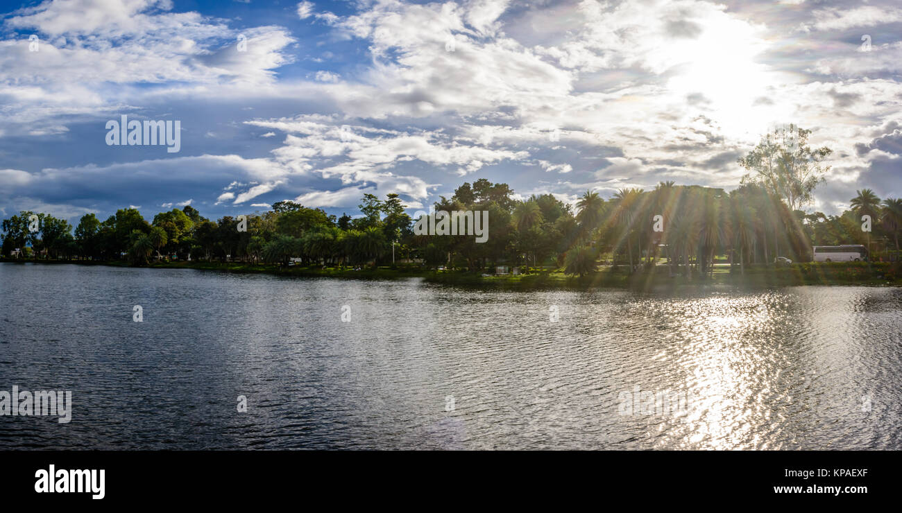 landscape photo of Naung Yar Lake, with cloudy and sunshine background, Loikaw,  Kayah State, Myanmar, Oct-2017 Stock Photo