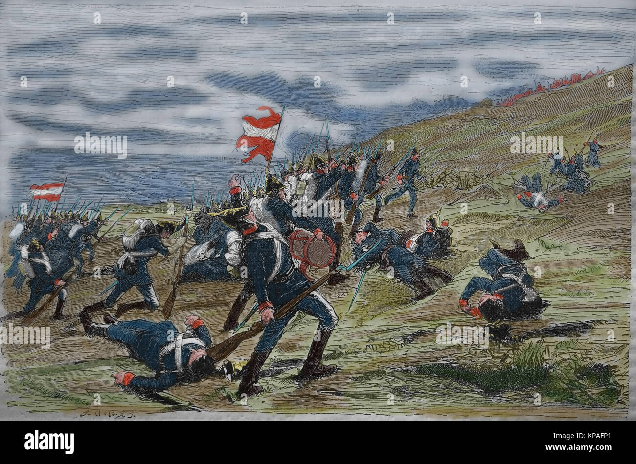Schleswig-Holstein Question. The First Schleswig War or Three Years' War (1848-1851). Battle at Kolding on April - Stock Image