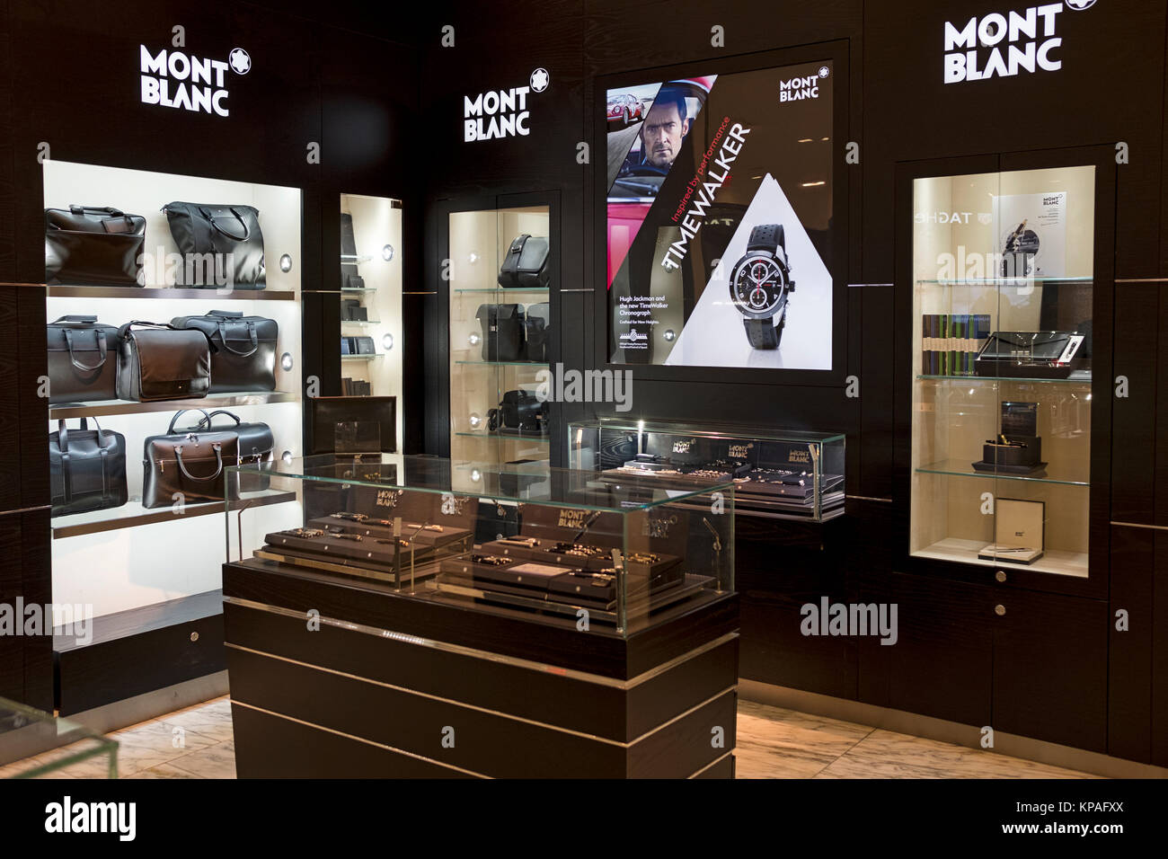 The Montblanc department at Macy's Herald Square selling fine writing instruments, watches and leather goods. - Stock Image