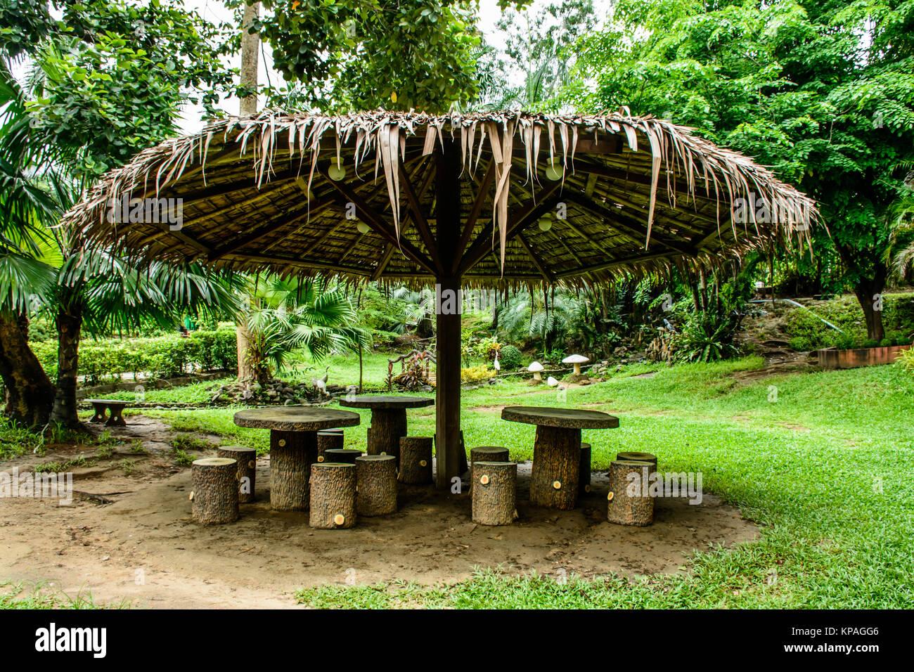 landscape photo of straw umbrella in the park - Stock Image