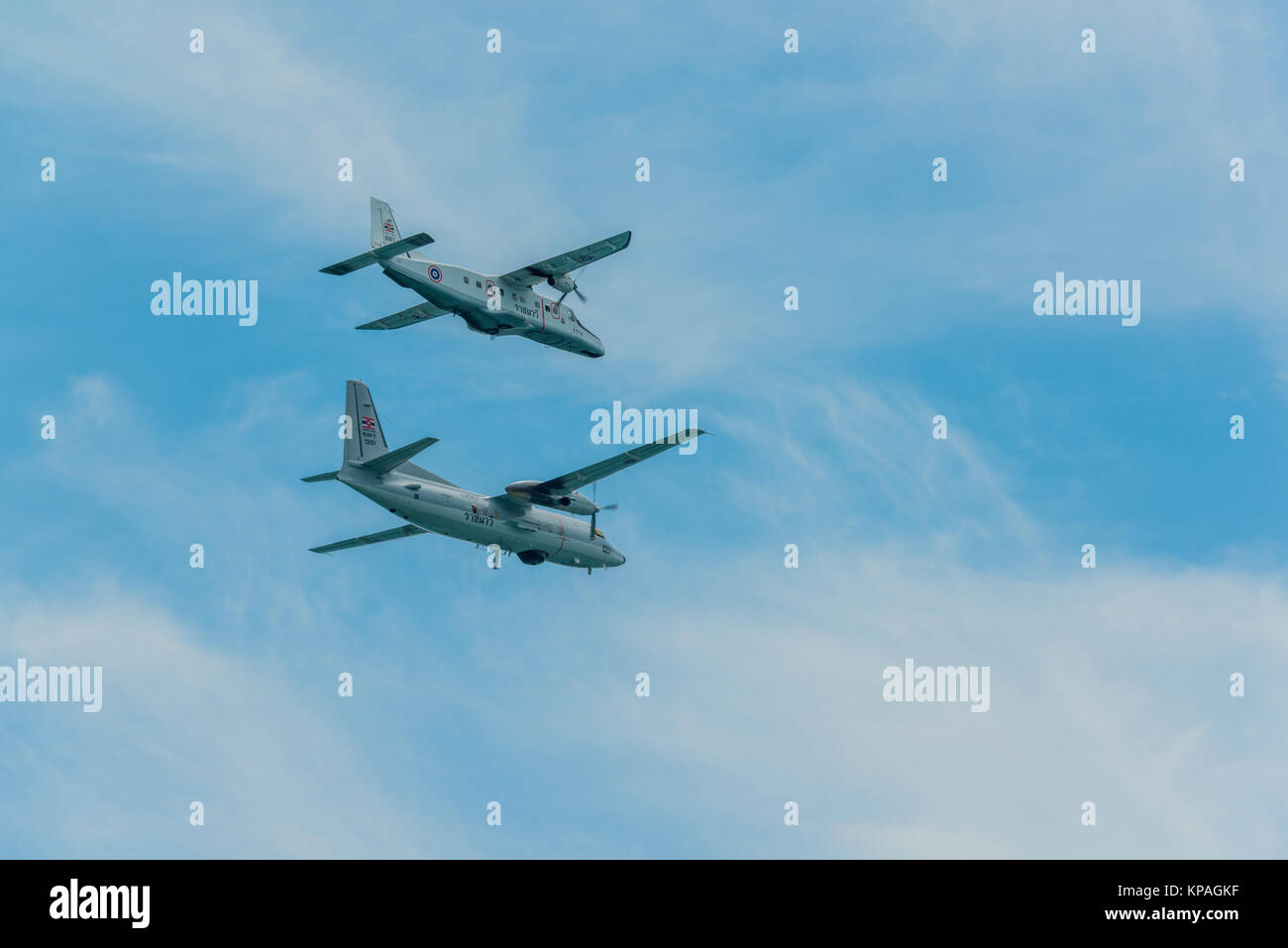 Pattaya, Thailand - November 9, 2017, Two warplane flying to support fleet review on the 50th anniversary ASEAN - Stock Image