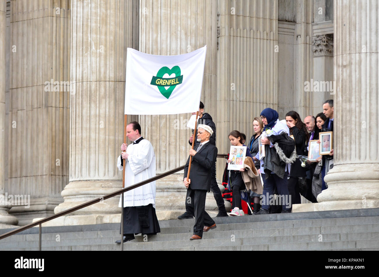 London, UK. 14th Dec, 2017. Survivors, families and members of the Royal Family attend a service at St Pauls, six - Stock Image