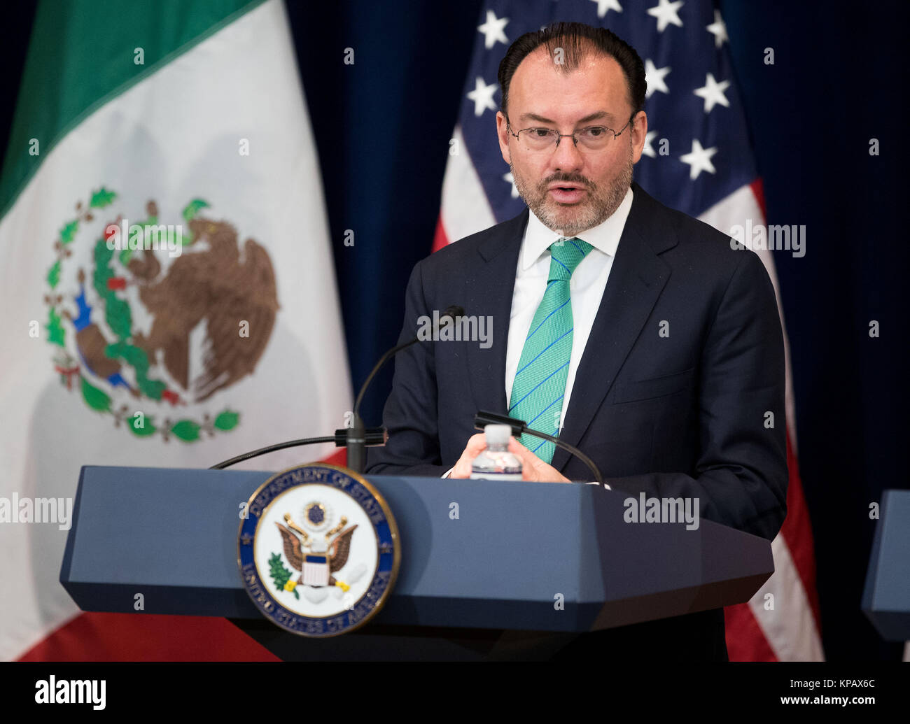 Washington, DC, USA. 14th Dec, 2017. Mexican Foreign Secretary Luis Videgaray speaks during a press conference in - Stock Image