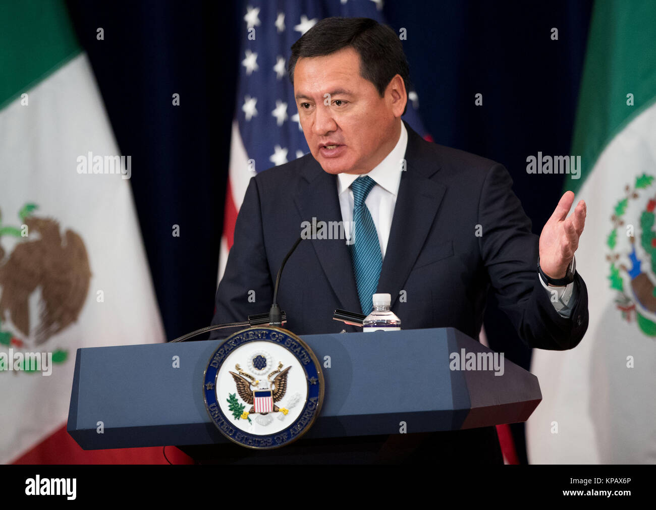Washington, DC, USA. 14th Dec, 2017. Mexican Interior Minister Miguel Angel Osorio Chong speaks during a press conference - Stock Image