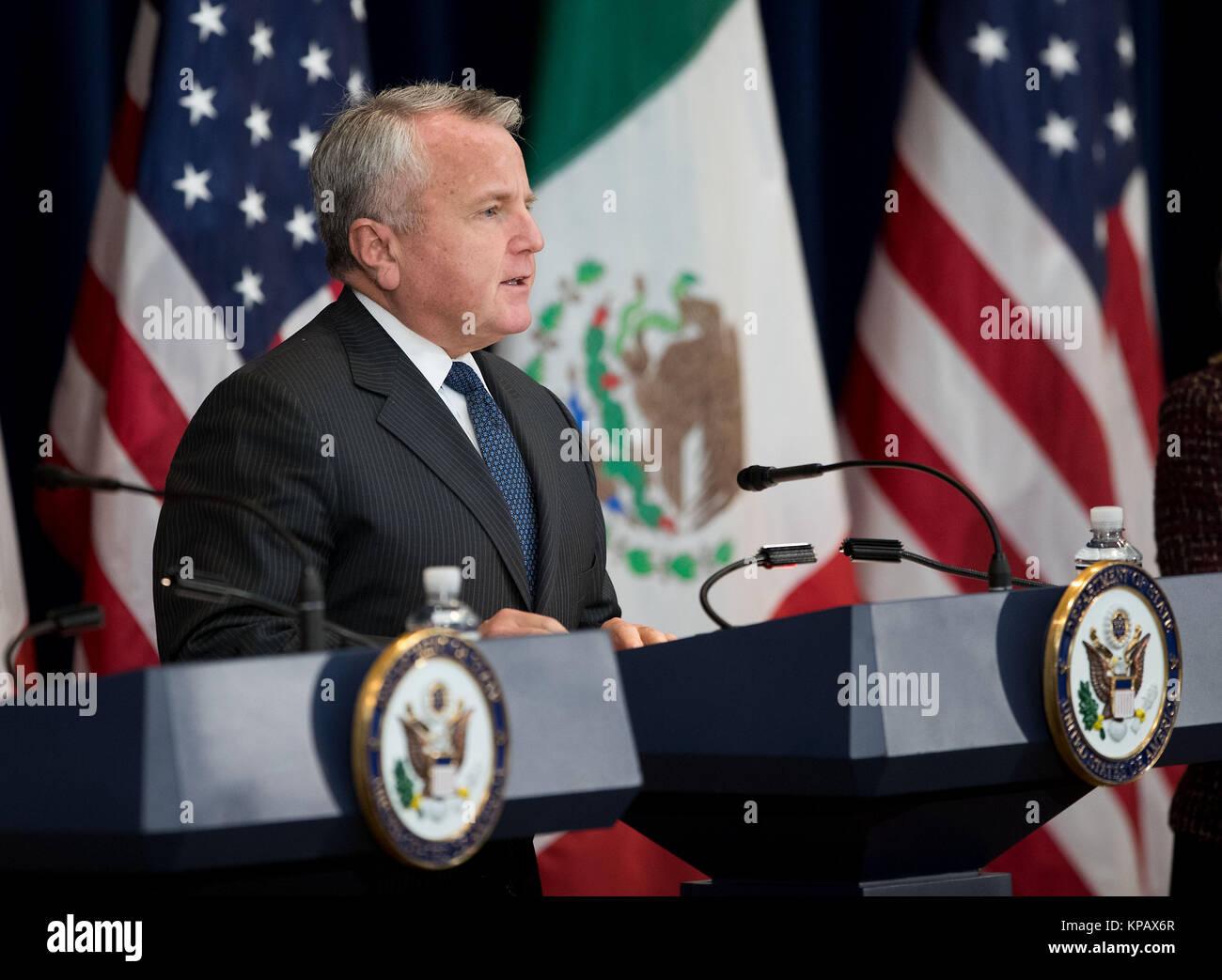 Washington, DC, USA. 14th Dec, 2017. U.S. Deputy Secretary of State John Sullivan speaks during a press conference - Stock Image