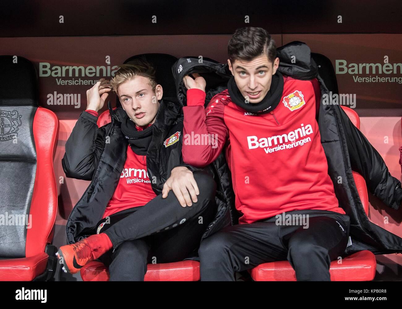 left to right Julian BRANDT (LEV), Kai HAVERTZ (LEV) auf der Ersatzbank Fussball 1. Bundesliga, 16. Spieltag, Bayer - Stock Image