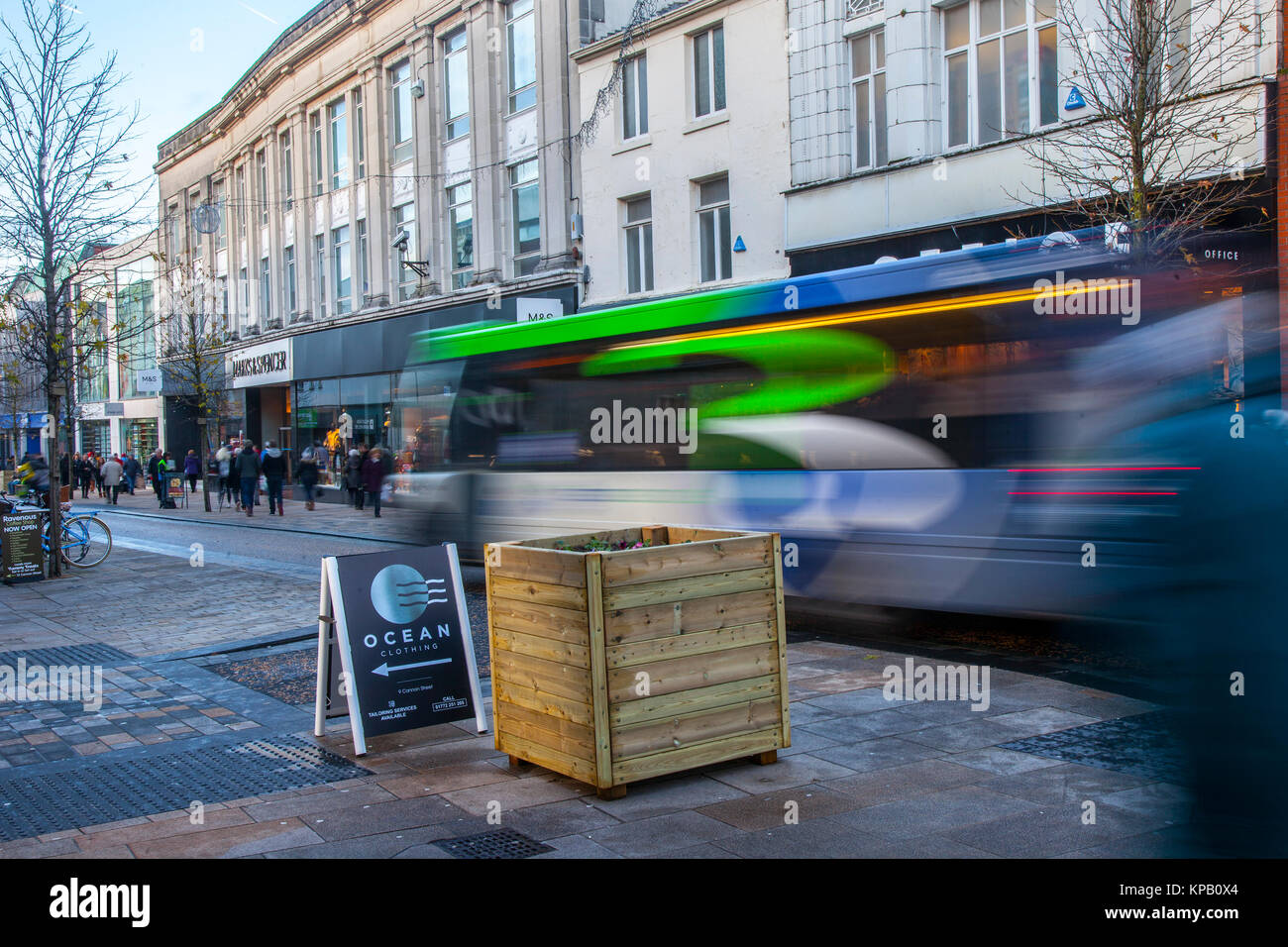 Preston, Lancashire, UK. 15th Dec, 2017. Security Alert. Anti-Terrorist devices, or vehicle buffers have been installed - Stock Image