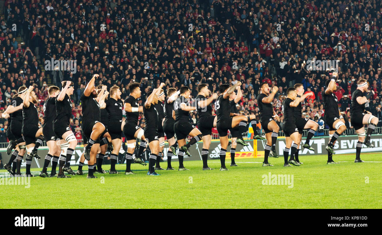 The All Blacks rugby team on the pitch in Eden Park, Auckland, New Zealand prior to the Rugby World Cup Final against Stock Photo