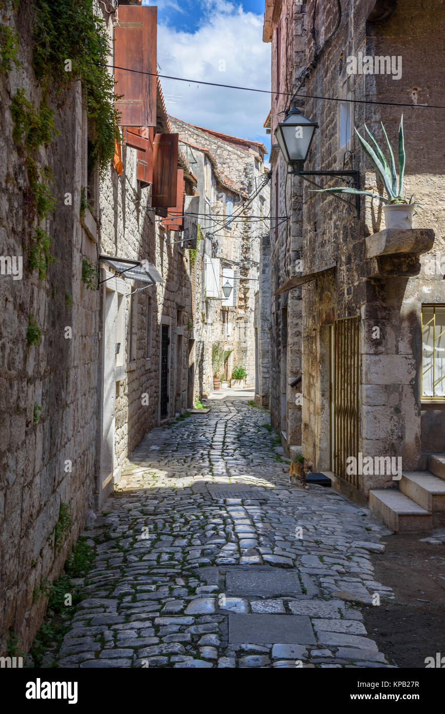 Narrow streets, Trogir Old Town, Croatia - Stock Image