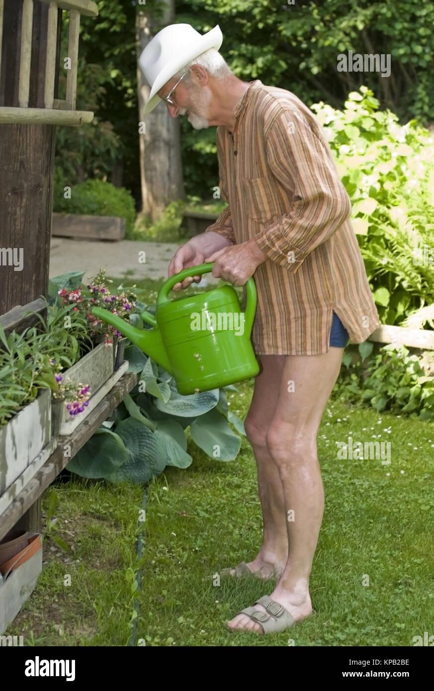 Model release, Pensionist, 65 +, im Garten beim Blumengiessen - pensioner watering the flowers in garden - Stock Image