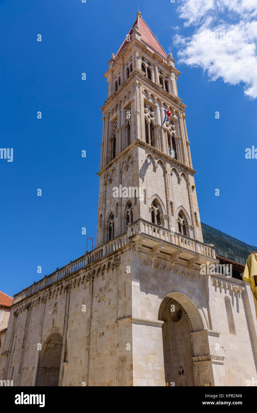 Bell tower of the Cathedral of St Lawrence, Trogir Old Town, Croatia - Stock Image
