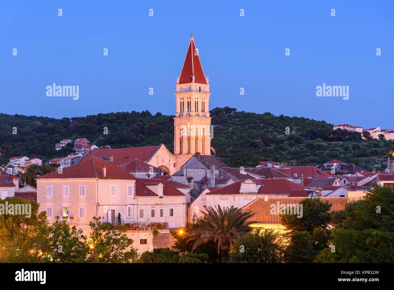 Dusk over Trogir Old Town, Croatia - Stock Image