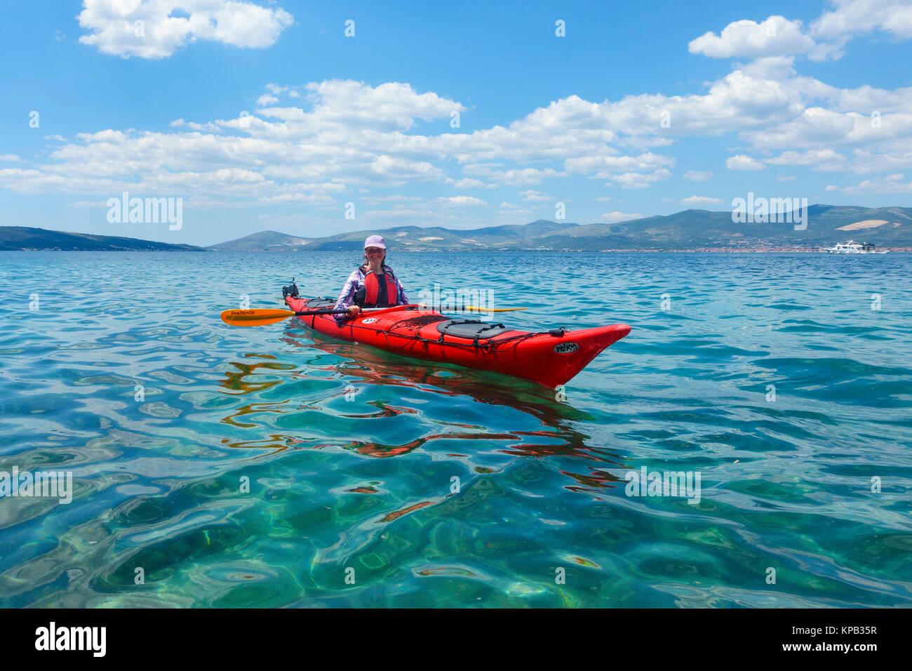 Sea kayaking near Split, Croatia Stock Photo