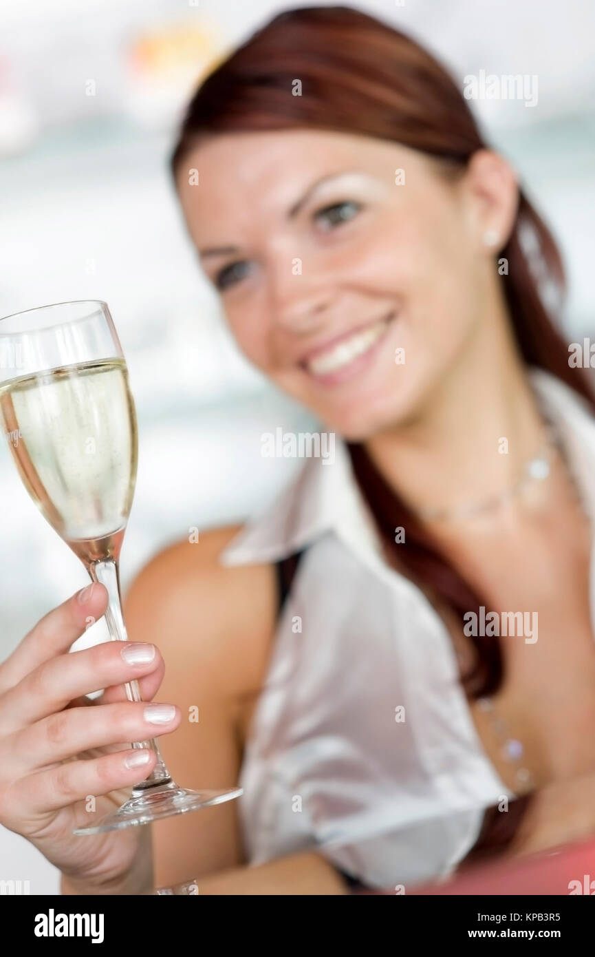 Model release, Junge, attraktive Frau mit Sektglas - young, attractive woman with sparkling wine Stock Photo