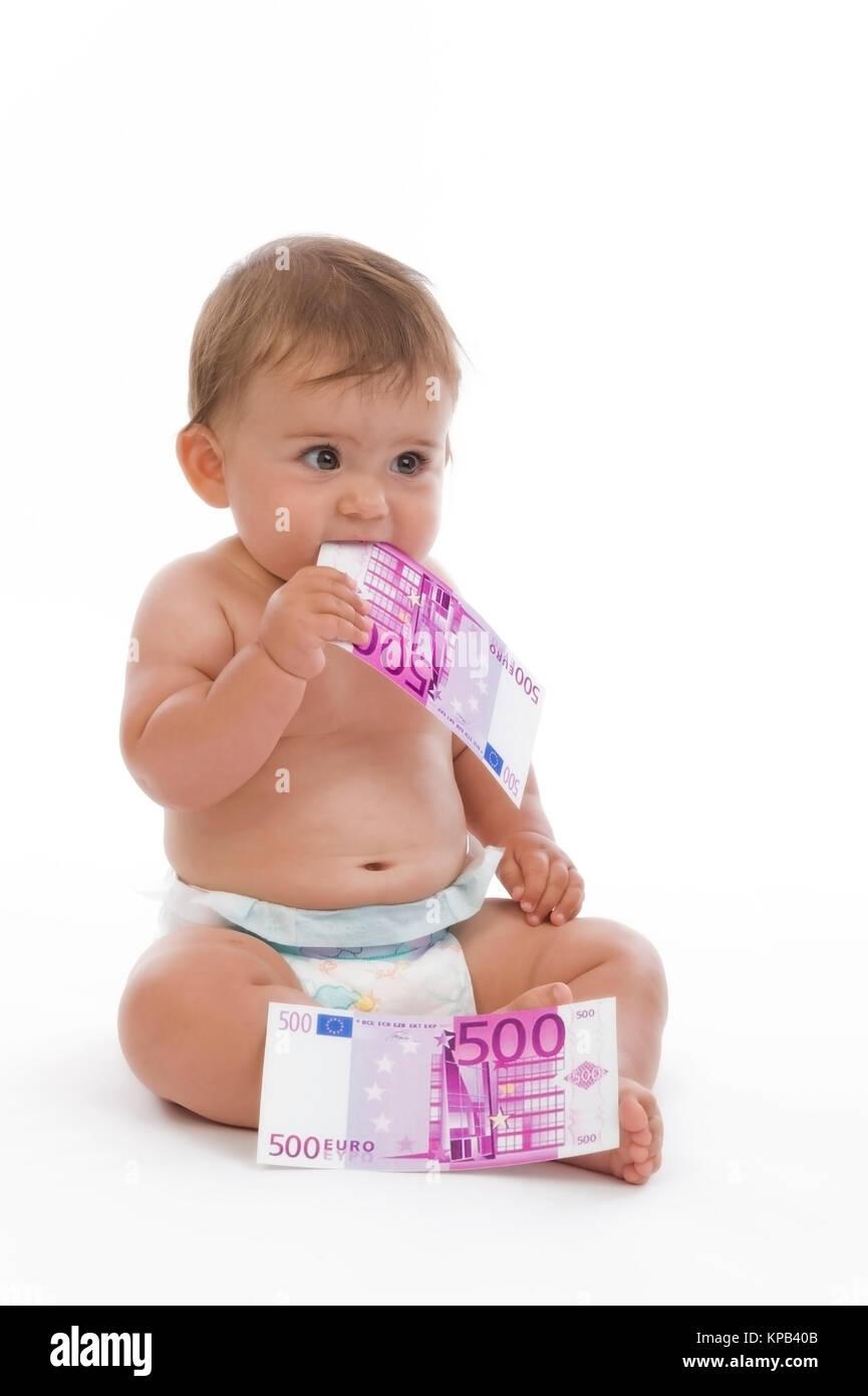 Model release, Kleinkind mit Geldscheinen, Symbolbild Kindergeld - little child with money Stock Photo