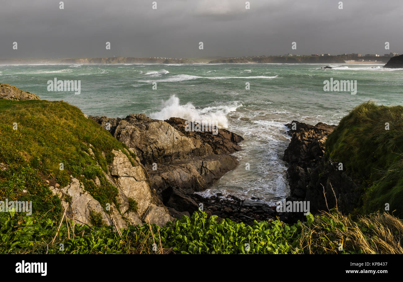Atlantic Storm Brian raging at Newquay, Cornwall, UK Stock Photo