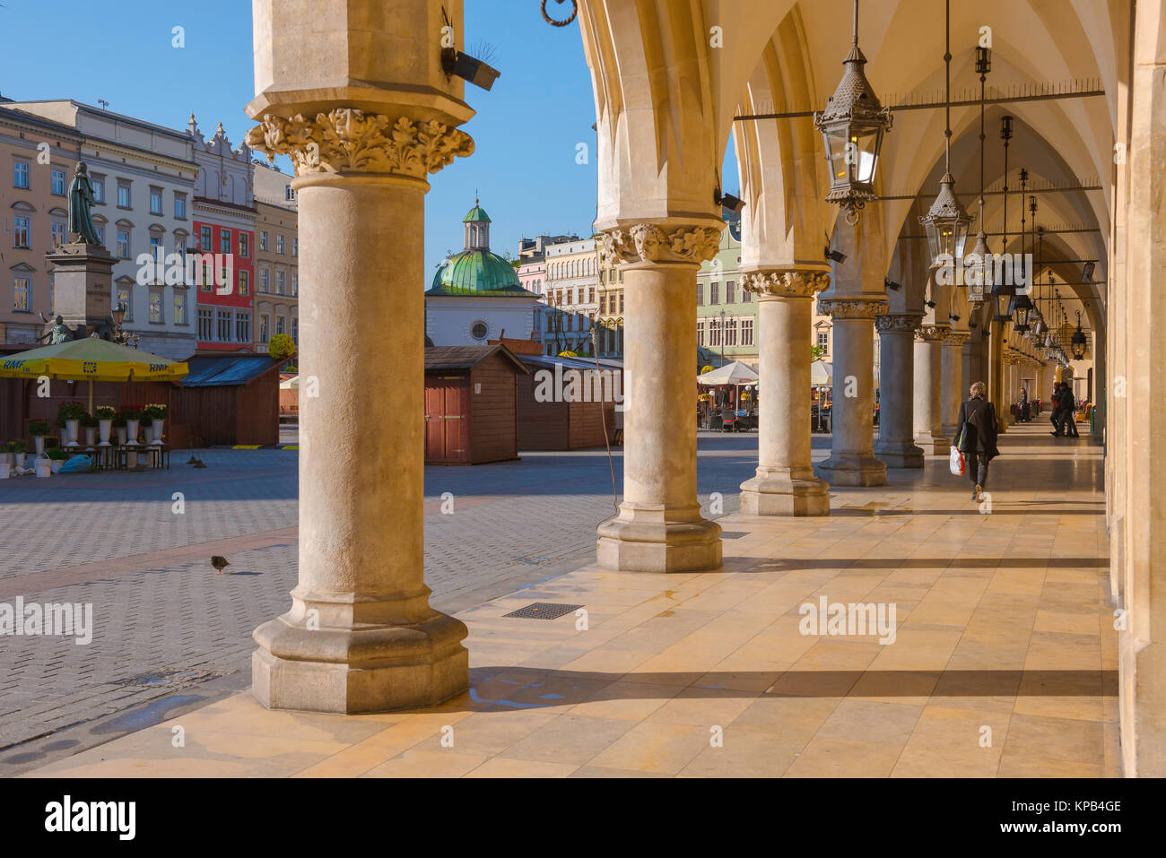 Arcade Poland, view of a colonnade on the east side of the Renaissance era Cloth Hall in the Market Square in Krakow - Stock Image