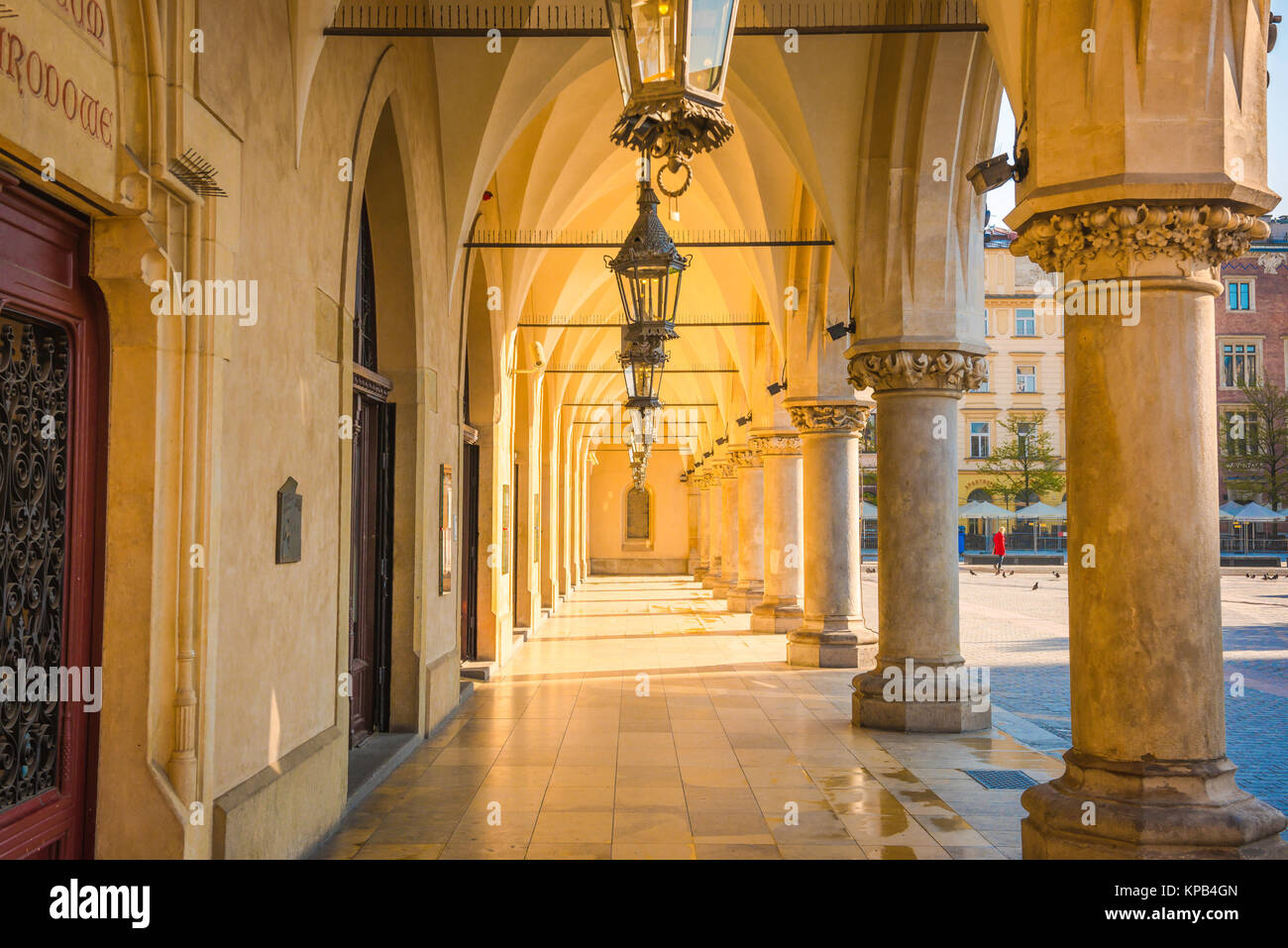 Arcade colonnade Europe, view of a colonnade on the east side of the Renaissance era Cloth Hall in the Market Square - Stock Image